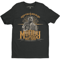 Muddy Waters Keep The Blues Alive Black Lightweight Vintage Style Cotton T-Shirt (Medium)